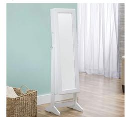 Bedroom FreeStanding Cheval Mirror Floor Jewelry Storage Arm