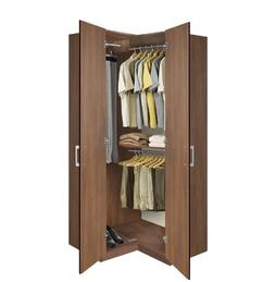 Bella Corner Wardrobe - Corner Closet w Three Hangrods
