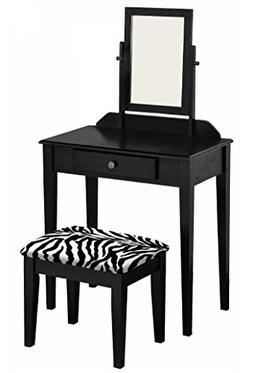 The Furniture Cove Black Finish Make Up Vanity Table Mirror