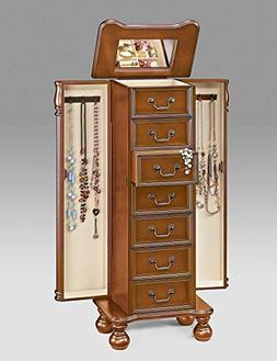 Benzara BM177729 Wooden Jewelry Armoire with Drawers, Brown