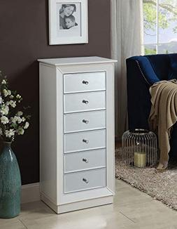 Benzara BM177736 Wooden Jewelry Armoire with Drawers, White