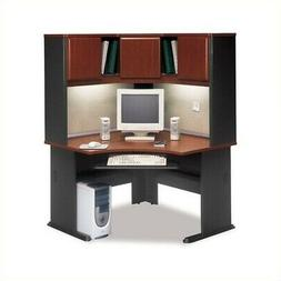 "Bush Series A 48"" Corner Computer Desk with Hutch in Hansen"