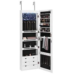 SONGMICS LED Jewelry Cabinet Armoire with 6 Drawers Lockable