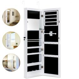 HERRON Jewelry Cabinet Armoire with Mirror Led Light Wall Do