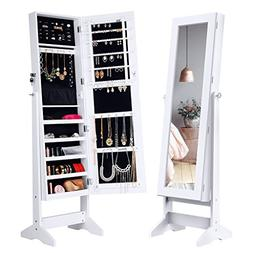 Jewelry Cabinet Lockable Mirror Boxe Organizer Holder Storag