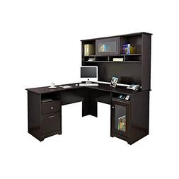 Bush Cabot L Shaped Computer Desk with Hutch in Espresso Oak