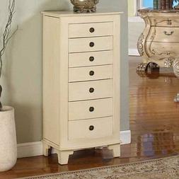 cayman locking jewelry armoire cream off white