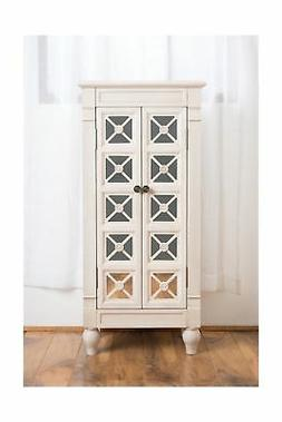 Celine Jewelry Armoire with Mirror, Century White