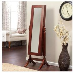 Cherry Cheval Mirror Jewelry Armoire Organizer Holder Chest