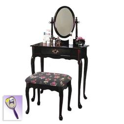 New Cherry Finish Queen Anne Make Up Vanity Table with Mirro
