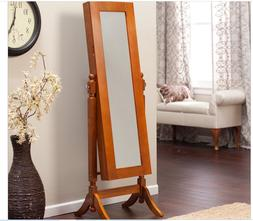 Cheval Jewelry Armoire Mirror Free Standing Holder Cabinet W