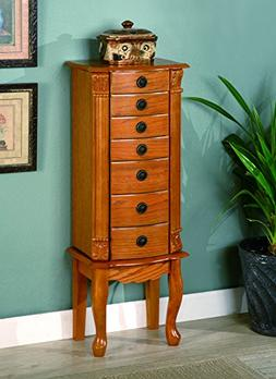 Classic Oak Finish Jewelry Storage Armoire with Mirror