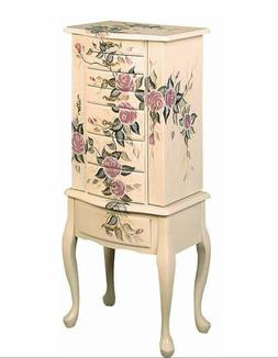 Classic Romantic Hand Painted Floral Off White Finish Jewelr