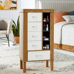 Contemporary Natural Finish Wood Freestanding Jewelry Armoir