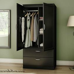 Contemporary Wardrobe Armoire Wood - With Framed Doors and S