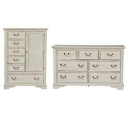 Liberty 2 Piece Country Farmhouse 7 Drawer Dresser and Armoi