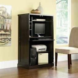 Dark Brown Wooden Computer Armoire Storage Desk Home Office