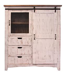 RR Distressed White Sturdy Solid Wood Anton Sliding Barn Doo