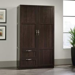 Dk Cherry Finish Armoire Wooden Wardrobe Storage Cabinet Clo