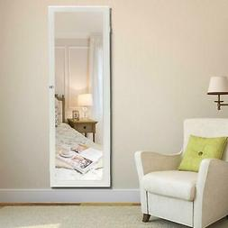 """47"""" Lockable Wall Mount Mirrored Jewelry Cabinet Organizer A"""