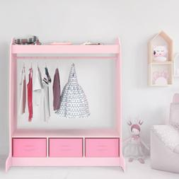Dress Up Storage w/ Mirror Shelf and Rod & 3 Armoire Fabric