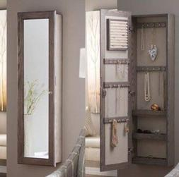 Jewelry Armoire - Driftwood Wood with Mirror Lockable Wall M