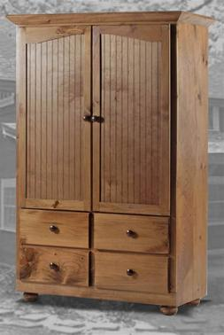 Duxbury Armoire with Knobs in Honey Pine Finish