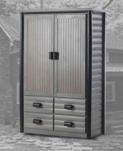 Duxbury Wardrobe Armoire in Gunsmoke and Black