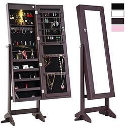 Cloud Mountain Mirrored Jewelry Cabinet Free-Standing Lockab