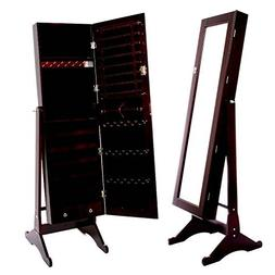 Espresso / Dark Brown Mirrored Jewelry Cabinet Armoire Stand
