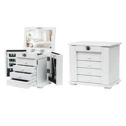 Extra Large White Wood Jewelry Cabinet For Girls Armoire Cab