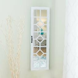 Farmhouse Aged White Over the Door Deluxe Jewelry Armoire St
