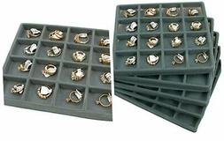 FindingKing 5 Gray 16 Slot 1/2 Size Jewelry Display Tray Ins