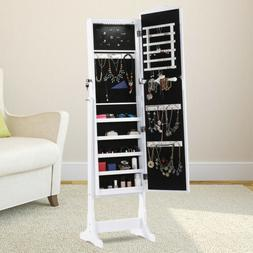 Free Standing LED Jewelry Cabinet Full-Length Mirrored Jewel