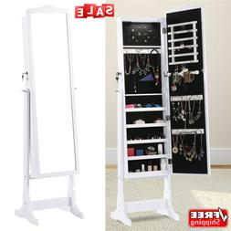 Free Standing Lockable Jewelry Cabinet Armoire Organizer Ful