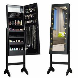 Free Standing Mirrored Jewelry Cabinet Armoire Organizer w/
