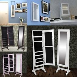 Free Standing Mirrored Jewelry Cabinet Armoire Storage Organ