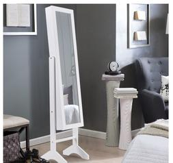 Freestanding Mirrored Jewelry Armoire Storage Cabinet with L