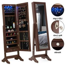 Full Length LED Mirror Jewelry Cabinet Storage Organizer w/