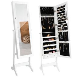Full Length Mirror Jewelry Cabinet Free Standing Armoire Sto