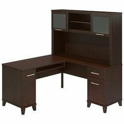 Bush Furniture Somerset 60W L Shaped Desk with Hutch in Moch