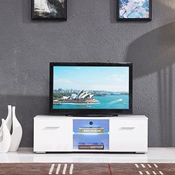 SUNCOO TV Stand Media Console Cabinet LED Shelves with 2 Dra