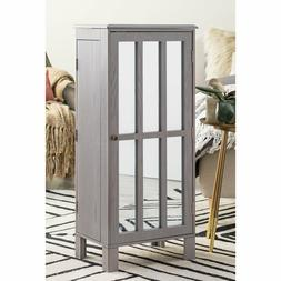 "Home Collection 40"" Gray Wash Finish Freestanding Jewelry Ar"