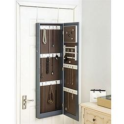 DormCo Gray Full-Length Hanging Mirror with Jewelry Cabinet