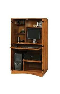 harvest mill computer armoire in abbey oak