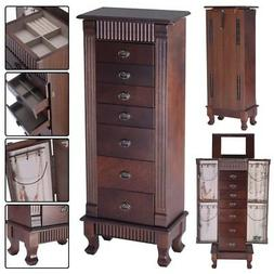 Home Jewelry Cabinet Armoire Box Storage Chest Stand Organiz