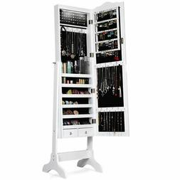 Home Jewelry Mirrored Cabinet Armoire Storage Organizer Draw
