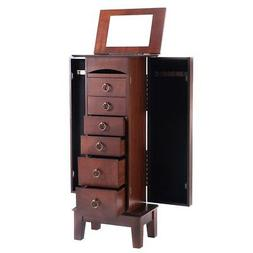 Home Wood Cabinet Armoire Storage Box Chest Stand Necklace J