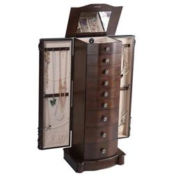Home Wooden Jewelry Cabinet Armoire Box Storage Chest Stand