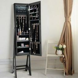 Home Wooden Standing Mirror Jewelry Cabinet Black Light Full